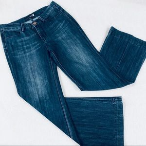 SEVEN7 STUDIO Jeans Mid Rise Creased Flare Size 8